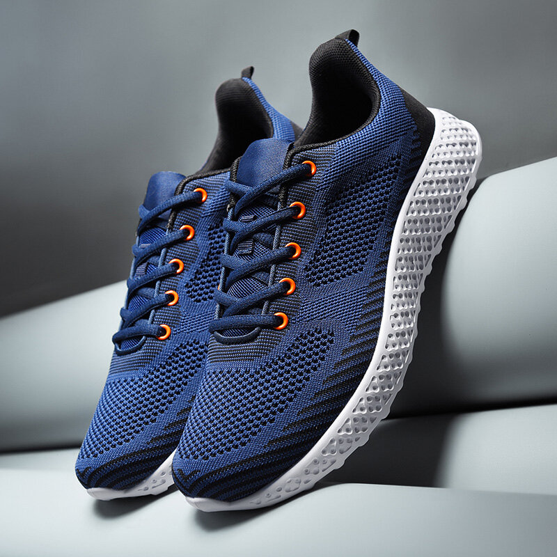 Men Knitted Fabric Breathable Lace Up Sport Running Athletic Shoes
