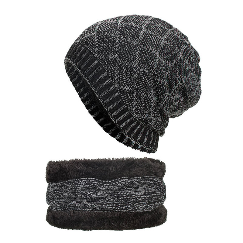 Mens Wool Velvet Knitted Hat Scarf Winter Vintage Vogue Ear Neck Warm Scarf Beanie Set