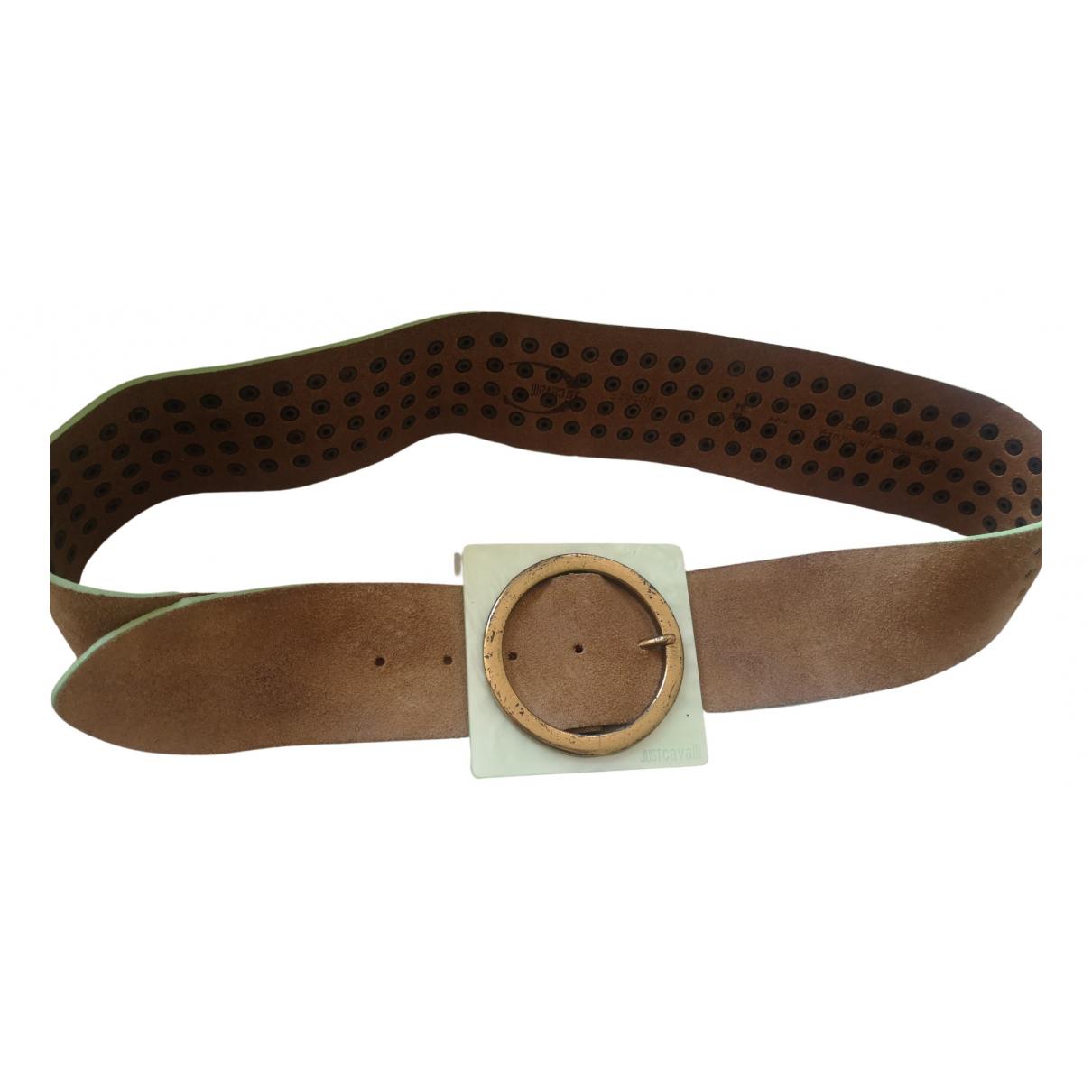Just Cavalli N Beige Leather belt for Women 85 cm