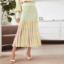 Contrast Mesh Pleated Knit Skirt