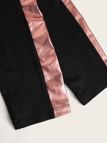 Mock Neck Slogan Graphic Top & Striped Side Leggings Set
