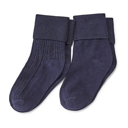Arizona Big Girls 2 Pair Turncuff Socks, Medium , Blue