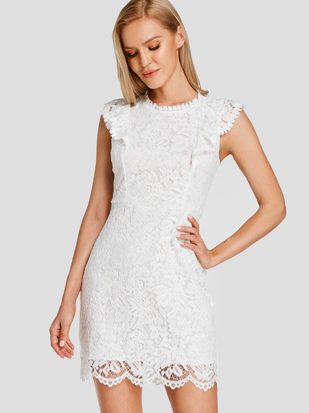 Yoins White Lace Zip Back Bodycon Dress with Lining