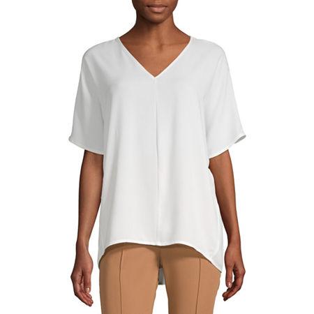Worthington Womens V Neck Woven Popover Blouse, Petite X-small , White