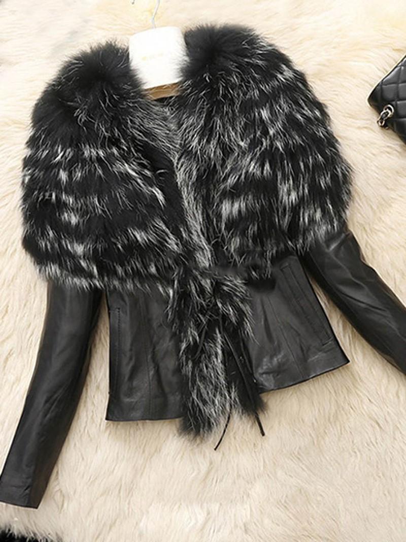 Ericdress V-Neck Slim Patchwork PU Jacket