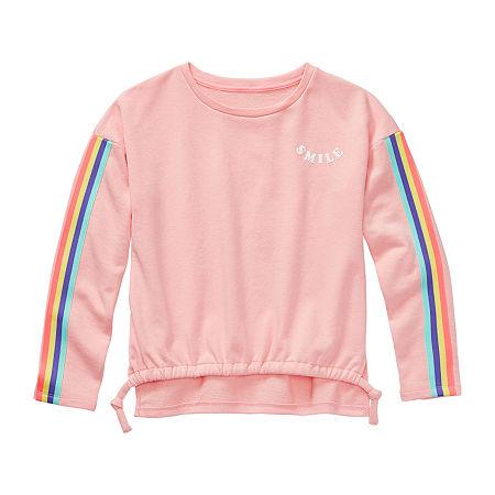 Arizona Little & Big Girls Scoop Neck Long Sleeve Sweatshirt, 2x-large (20.5) Plus , Pink