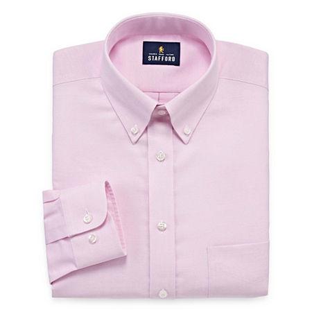 Stafford Mens Wrinkle Free Oxford Button Down Collar Regular Fit Dress Shirt, 15.5 32-33, Pink