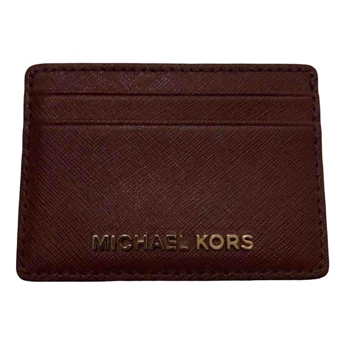 Michael Kors \N Portemonnaie in  Bordeauxrot Leder