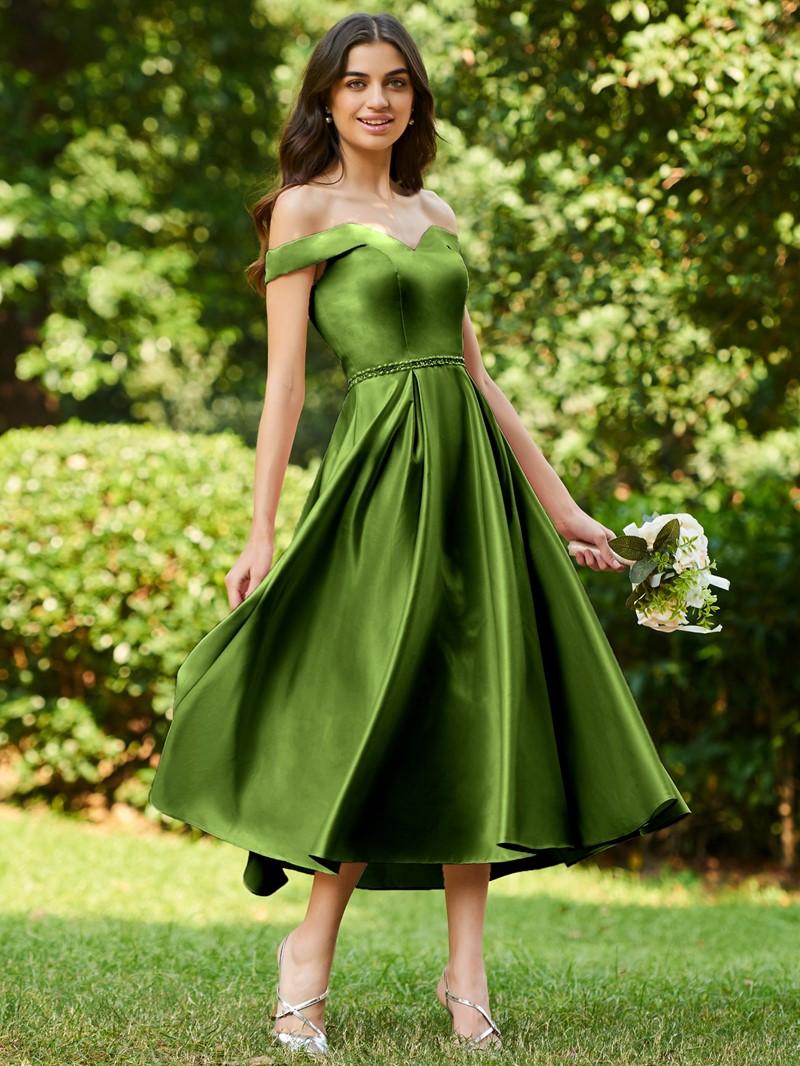 Ericdress Off the Shoulder Beading Tea Length Bridesmaid Dress
