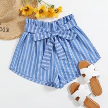 Paperbag Waist Belted Striped Print Shorts