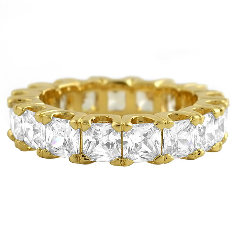 Princess Cut CZ Eternity Gold Bling Bling Ring