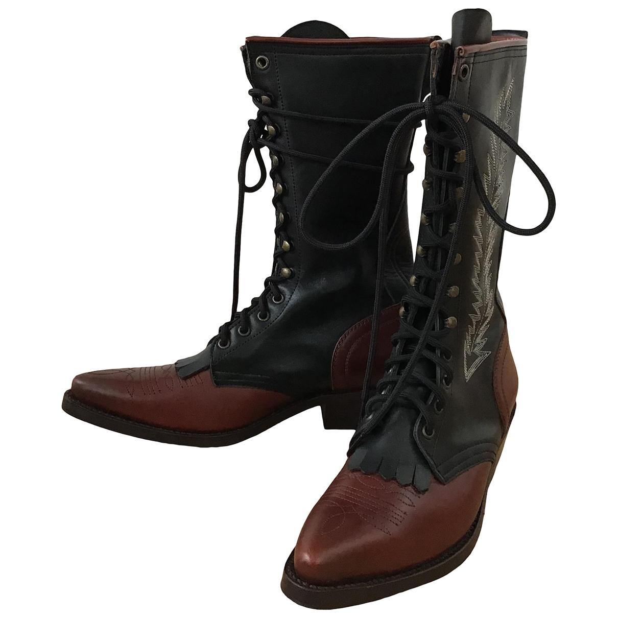Rabens Saloner \N Black Leather Boots for Women 37 EU