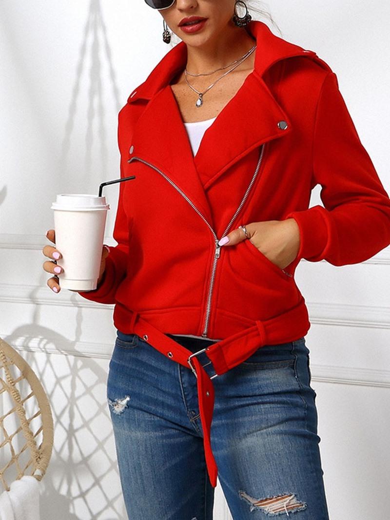 Ericdress Straight Long Sleeve Zipper Lapel Regular Women's Jacket
