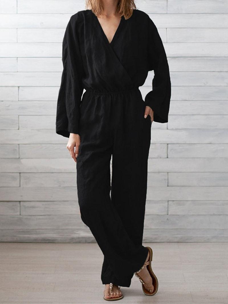 Ericdress Plain Casual Full Length Straight Loose Jumpsuit