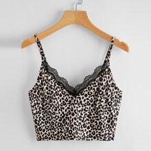 Leopard Lace Trim Crop Cami