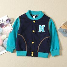 Toddler Boys Letter Patched Bomber Jacket