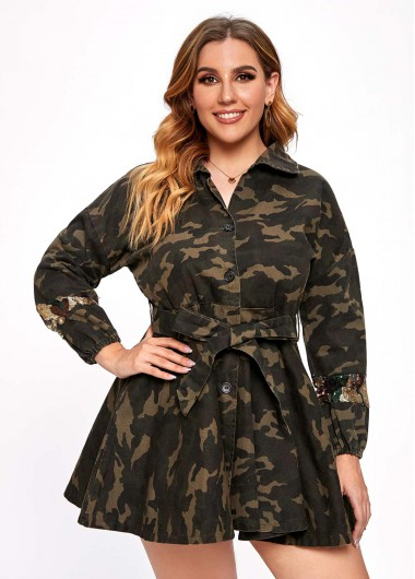 Camouflage Print Sequin Belted Plus Size Dress - 3XL