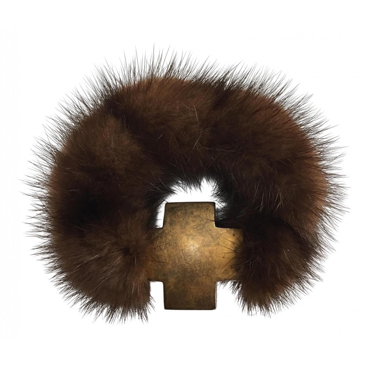 - Bracelet Croix pour femme en vison - marron