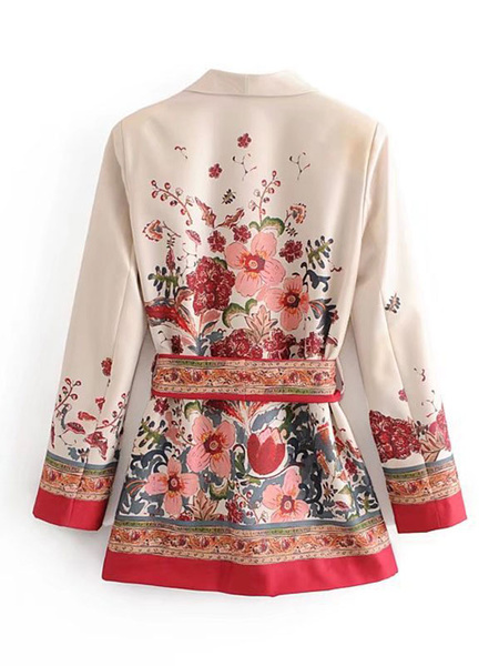 Milanoo Women Floral Blazer White Turndown Collar Long Sleeve Fall Jacket