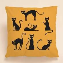 Kissenbezug mit Karikatur Katze Muster ohne Fuellstoff