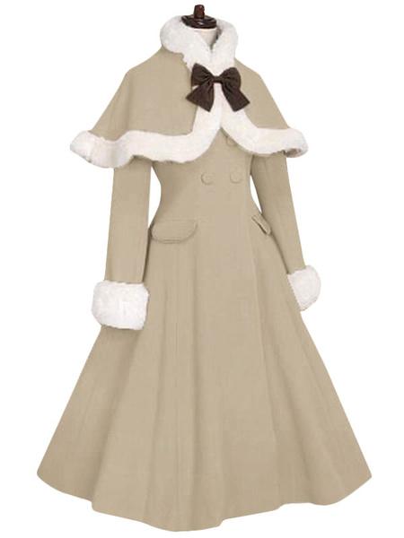 Milanoo Red Lolita Coat Fur Trim Bow Sweet Lolita Wool Overcoat With Cape