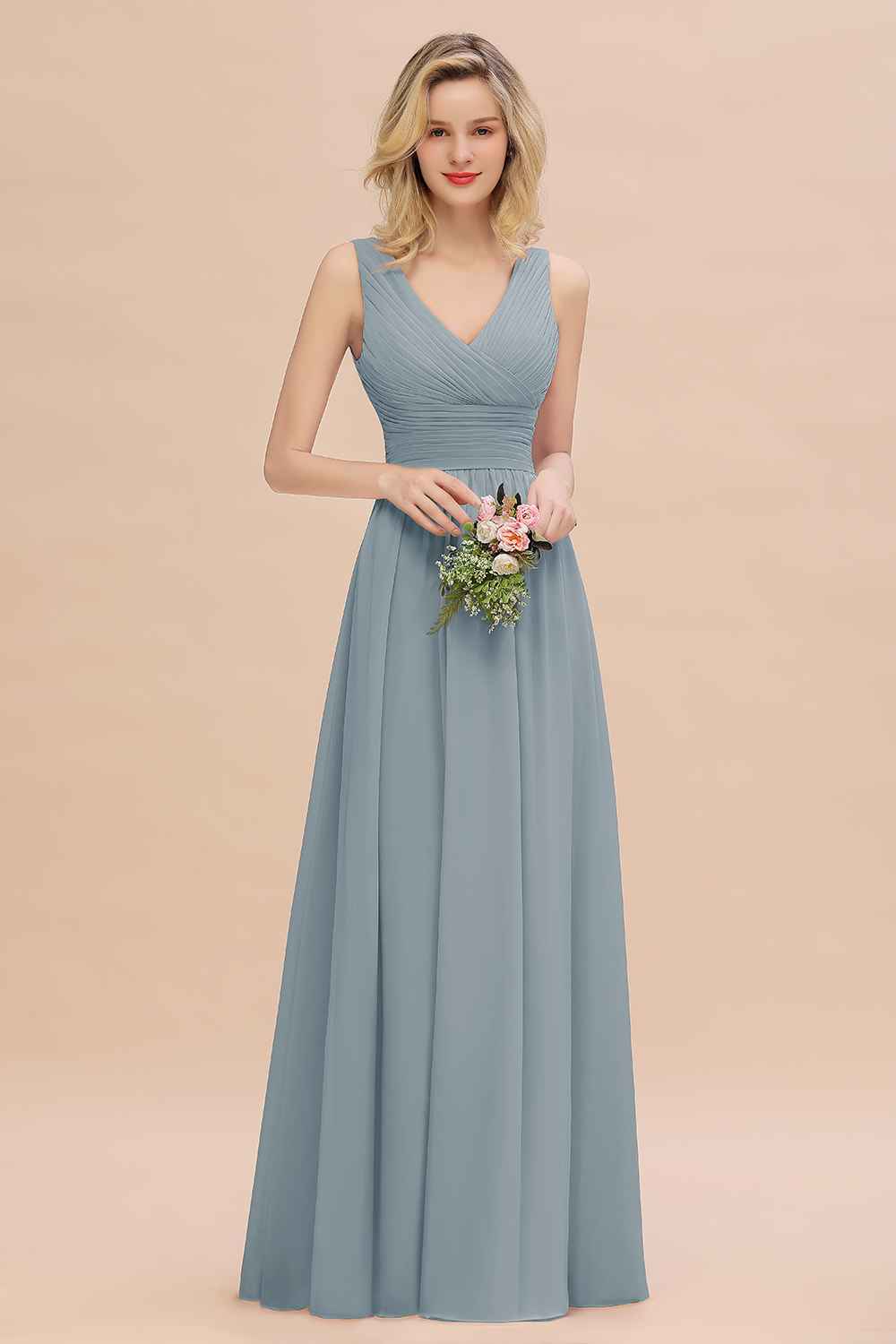 BMbridal Elegant V-Neck Dusty Rose Chiffon Bridesmaid Dress with Ruffle