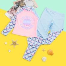 Girls Fish Scales & Letter Graphic Bikini Swimsuit