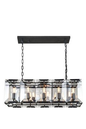 1212D34FB 1212 Monaco Collection Pendant Lamp L: 34in W: 13in H: 12in Lt: 10 Flat Black (Matte)