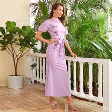 Kleid mit Punkten Muster, Netzstoff, Ärmeln und Selbstguertel