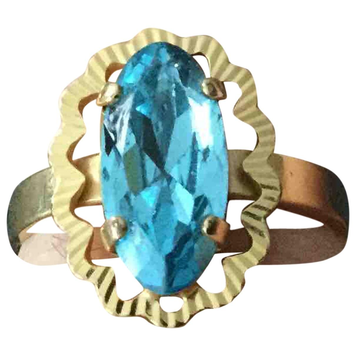 - Bague Art Deco pour femme en plaque or - bleu