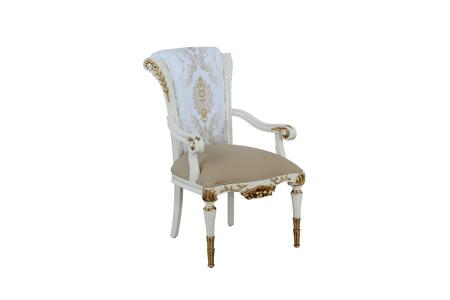 Valentina Collection Luxury Dining Arm Chair  Mahogany Wood Solid Base and Frame  Hand Carved & Handcrafted  in Beige and Gold