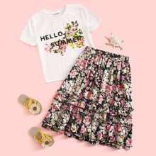 Girls Slogan and Floral Top & Ruffle Trim Skirt Set