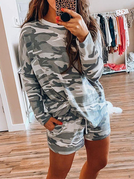Yoins Camo Crew Neck Long Sleeves Two Piece Outfit