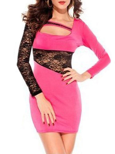 Milanoo Club Dress Black Lace Cut Out Long Sleeves Sexy Dress