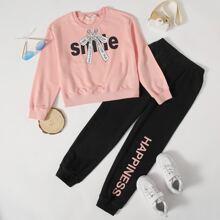 Pullover & Jogginghose Set mit Buchstaben und Schleife Muster