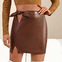 Knot Side Split Hem PU Leather Skirt