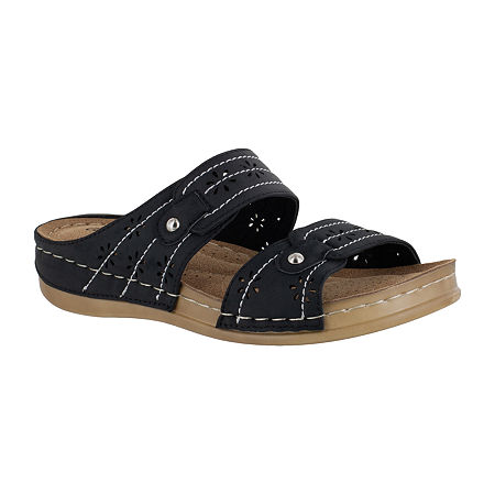 Easy Street Womens Slide Sandals, 8 1/2 Medium, Black
