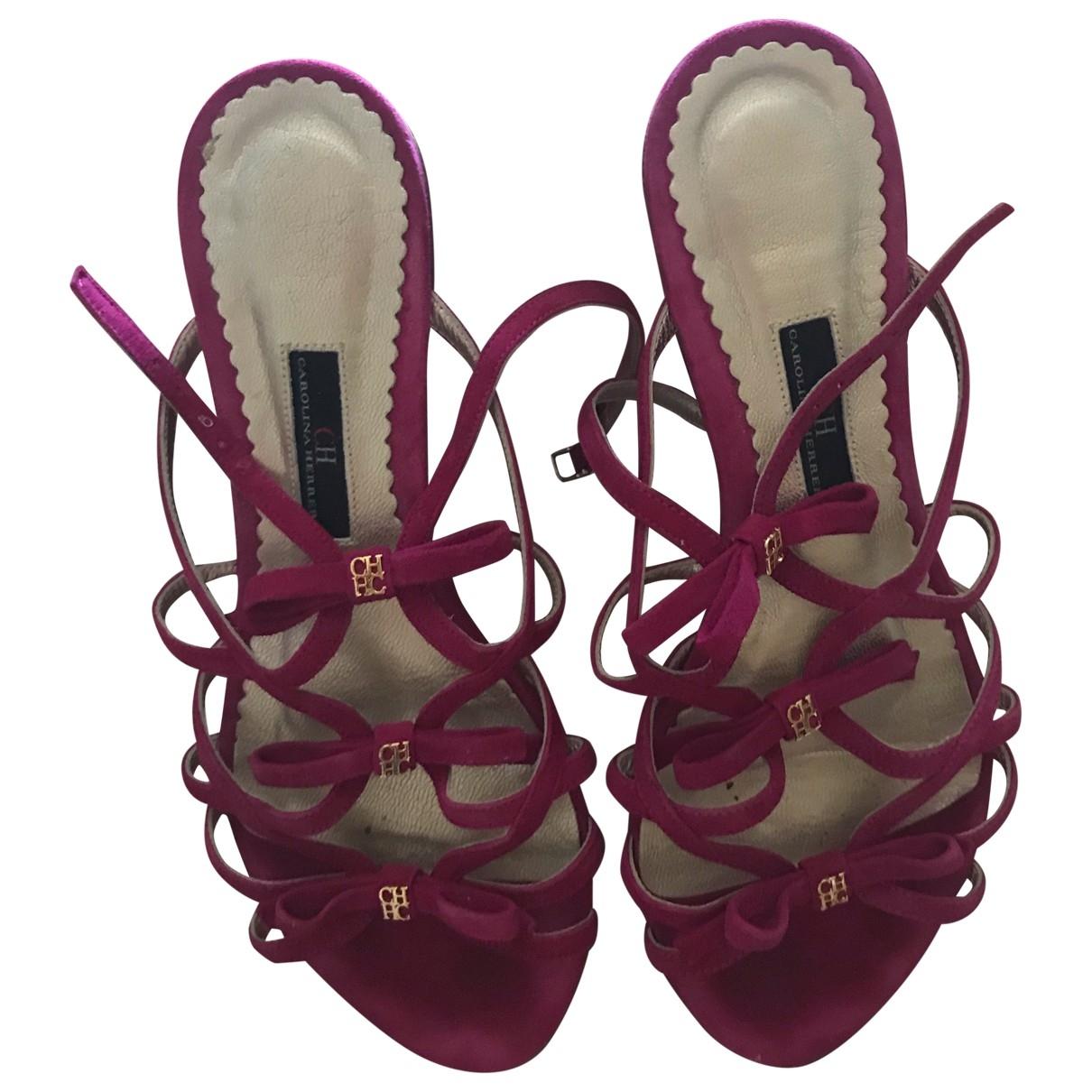 Carolina Herrera \N Pink Suede Sandals for Women 38 EU