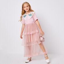 Girls Butterfly Patched Layered Mesh Hem Dress
