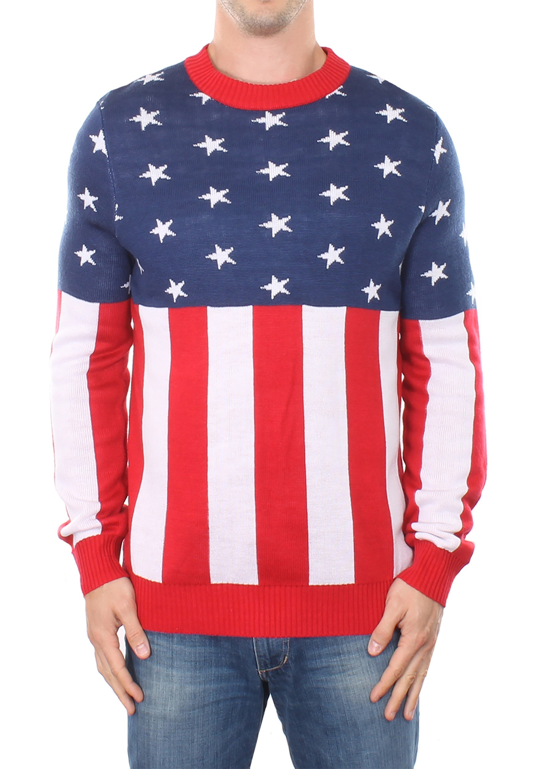 Tipsy Elves American Flag Men's Holiday Sweater
