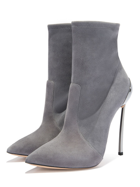 Milanoo Grey High Heel Boots Women Dress Shoes Suede Pointed Toe Stiletto Heel Short Booties