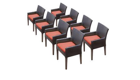 Belle Collection BELLE-TKC097b-DC-4x-C-TANGERINE 8 Dining Chairs With Arms - Wheat and Tangerine