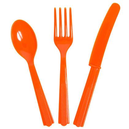 Party Plastic Assorted Cutlery Solid Color Pumpkin Orange 18Pcs
