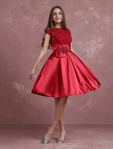 Milanoo Red Prom Dresses 2020 Short Homecoming Dress A Line Pleated Satin Jewel Short Sleeve Knee Length Party Dress With Bow
