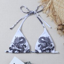 Top bikini triangulo con estampado de dragon chino