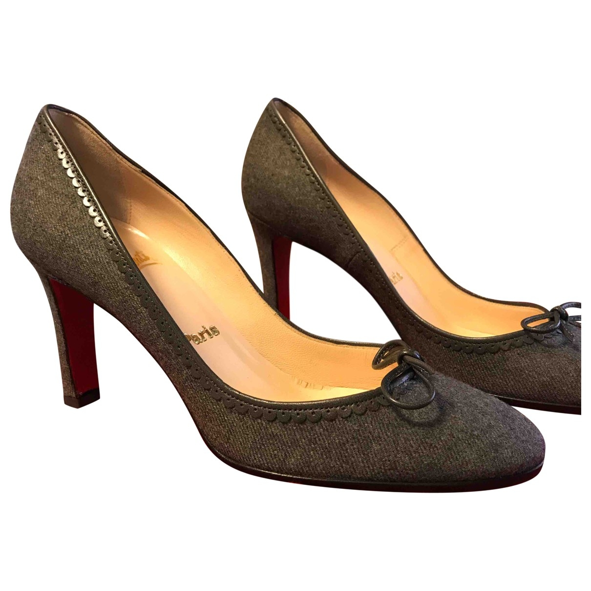 Christian Louboutin \N Grey Tweed Heels for Women 38 EU