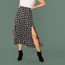 Plus Split Thigh Ditsy Floral Print Skirt