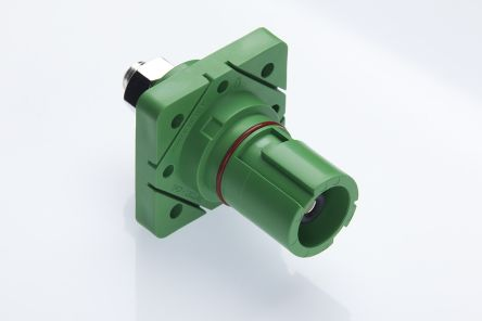 Radiall , SPPC-HK IP2X, IP67 Green Cable Mount 1P Industrial Power Socket, Rated At 400.0A, 1.25 kV
