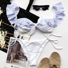 Polka Dot Ruffle Knot Front Tie Side Bikini Swimsuit