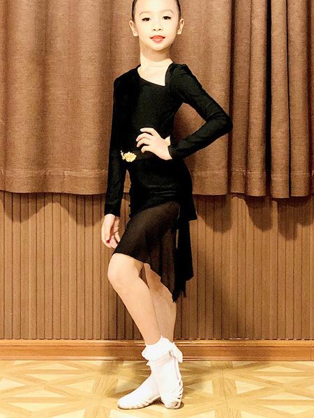 Milanoo Kids Latin Dance Dresses Girls Black Set Lycra Spandex Dress Dancing Wear